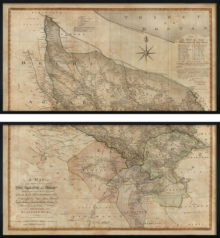 Large Map of Delhi, Agrah, Oude and Ellahabad, 1794,The Calcutta Restoration Co., - Artisera