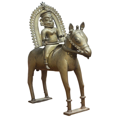 Folk Art Horse with Rider,Crafters, - Artisera