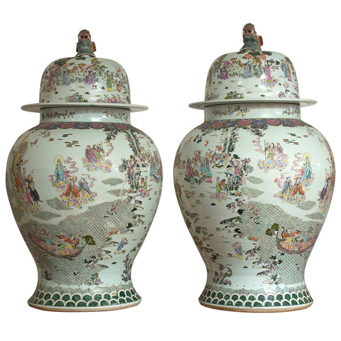 Pair of Vietnamese Jars with Lid,Crafters, - Artisera