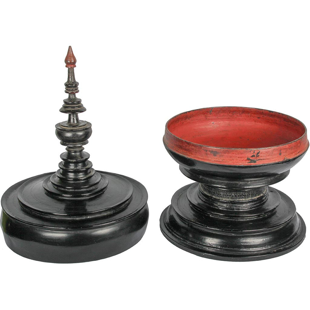 Black Lacquered Small Covered Bowls Mini Burmese Offering Bowl FREE SHIPPING.