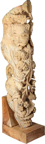 Lion Bracket in Teakwood, Gujarat,Balaji's Antiques and Collectibles, - Artisera