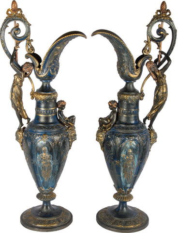 European Jugs With Cherubs (Pair),Essajees, - Artisera