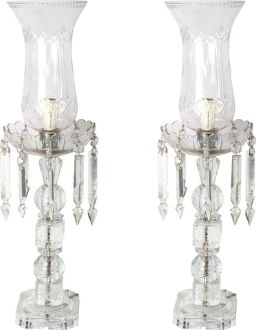 French Crystal Lamps (Pair),Essajees, - Artisera