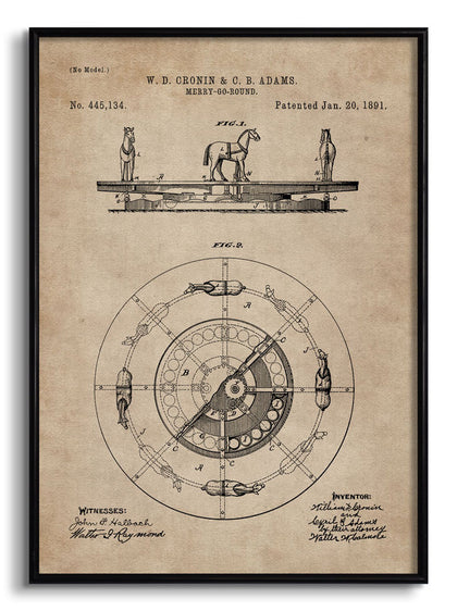Merry-Go-Round Patent Document,[product_collection],The Calcutta Restoration Co., - Artisera