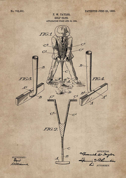 Golf Club Patent Document,[product_collection],The Calcutta Restoration Co., - Artisera