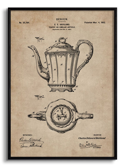 Teapot Patent Document,[product_collection],The Calcutta Restoration Co., - Artisera
