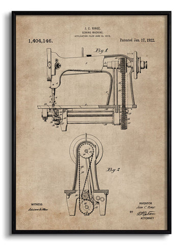 Sewing Machine Patent Document,[product_collection],The Calcutta Restoration Co., - Artisera