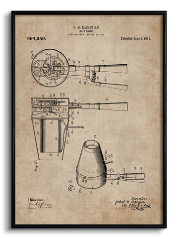 Hair Dryer Patent Document,[product_collection],The Calcutta Restoration Co., - Artisera