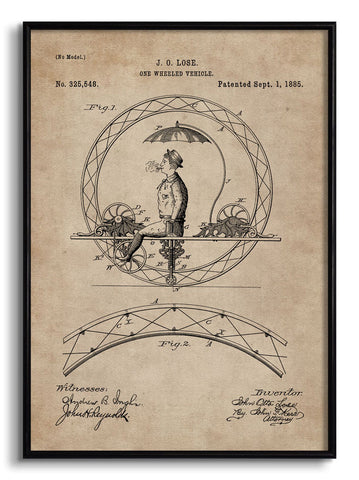 One Wheeled Vehicle Patent Document,[product_collection],The Calcutta Restoration Co., - Artisera