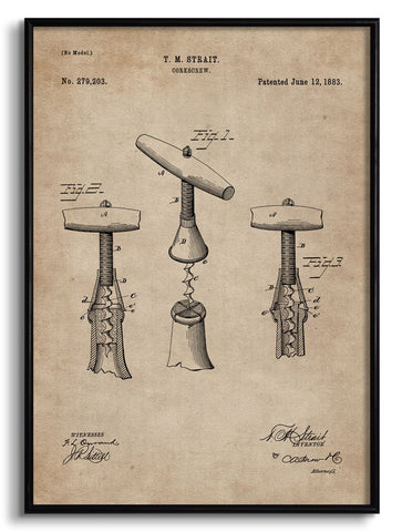 Cork Screw Patent Document,[product_collection],The Calcutta Restoration Co., - Artisera