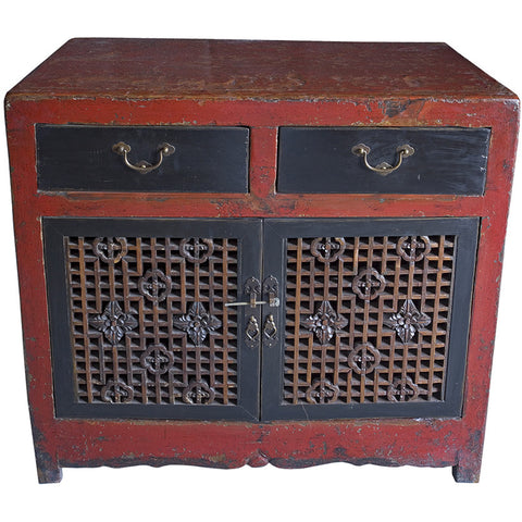 Wooden Red Lacquered Oriental Low Cabinet,[product_collection],Artisera, - Artisera