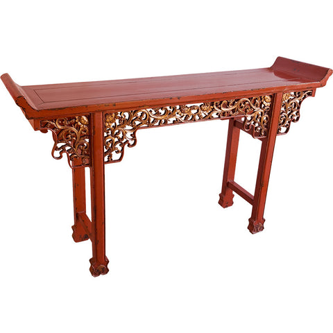 Wooden Red Lacquered Carved Console Table,[product_collection],Artisera, - Artisera