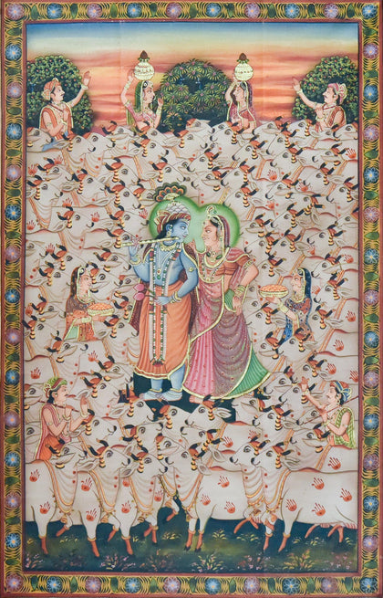 Radha Krishna With Cows,[product_collection],Artisera Pichwai, - Artisera