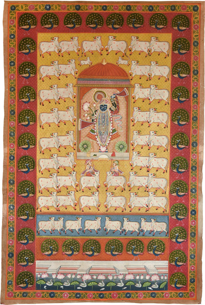 Shrinathji With Cows - I,[product_collection],Artisera Pichwai, - Artisera