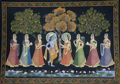 Khejadi Tree Radha Krishna,[product_collection],Artisera Pichwai, - Artisera