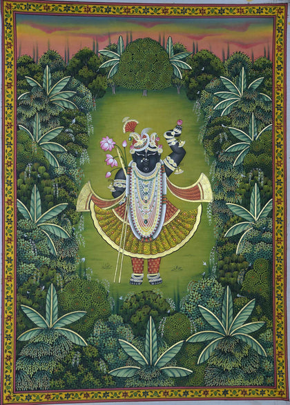 Shrinathji Swaroop Van Vihar - II,[product_collection],Artisera Pichwai, - Artisera