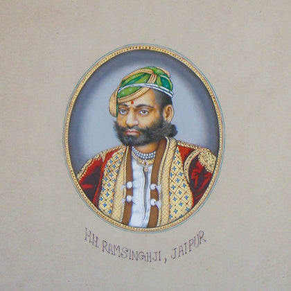 Portrait Study of H.H Ramsinghji, Jaipur,[product_collection],La Boutique, - Artisera