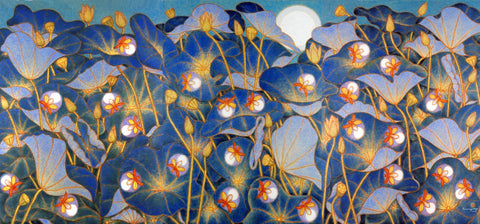 Lotus Pond at Night with Fireflies,[product_collection],Vadehra Art Gallery Bookstore,A. Ramachandran - Artisera