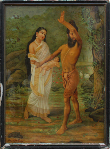 Vishwamitra and Menaka,[product_collection],Balaji's Antiques and Collectibles,Raja Ravi Varma - Artisera