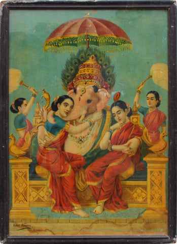 Ganesha and his Consorts,[product_collection],Balaji's Antiques and Collectibles,Raja Ravi Varma - Artisera