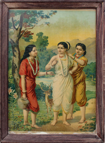 Shakuntala with Attendants,Balaji's Antiques and Collectibles,Raja Ravi Varma - Artisera