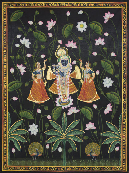 Shree Krishna With Gopis in Lotus,[product_collection],Artisera Pichwai, - Artisera