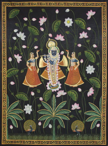 Shree Krishna With Gopis in Lotus,Artisera Pichwai, - Artisera