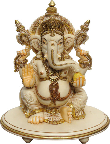 Ganesha With Ivory Finish,La Boutique, - Artisera