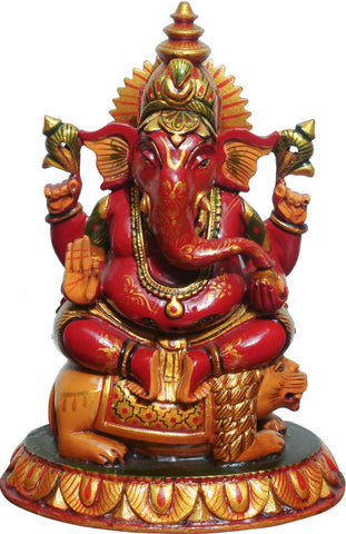Painted Wooden Ganesha,La Boutique, - Artisera