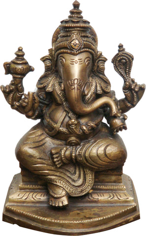 Seated Ganesha in Brass - I,La Boutique, - Artisera