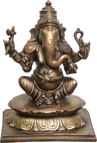 Seated Ganesha in Brass - II,La Boutique, - Artisera