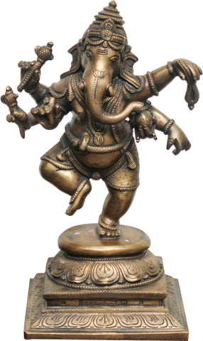 Standing Ganesha in Brass,La Boutique, - Artisera