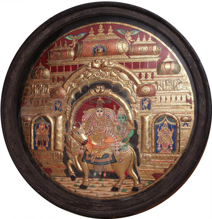 Shiva Parvathi on Nandi with Ganesha and Karthikeya,[product_collection],Artisera, - Artisera