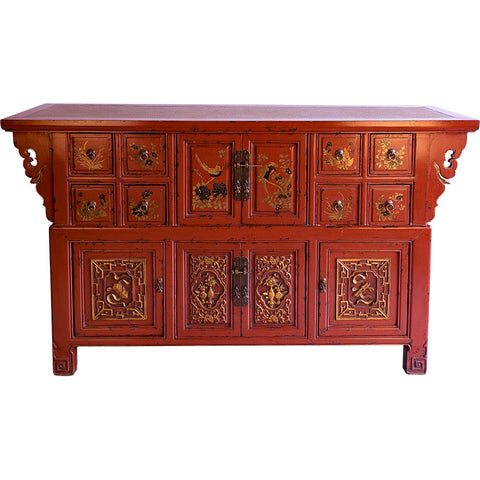 Wooden Red Lacquered Buffet,Artisera, - Artisera