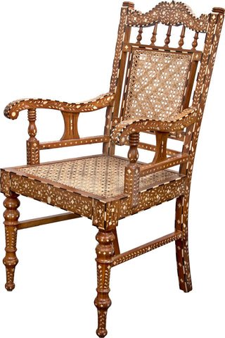 Chair With Bone Inlay Work