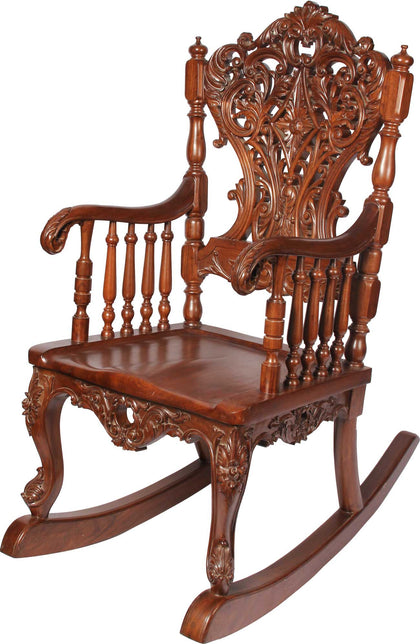 Rocking Chair with Intricate Carving,[product_collection],The Great Eastern Home, - Artisera