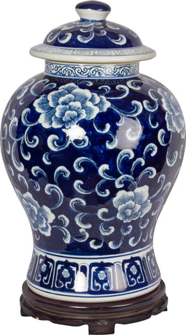 Porcelain Floral Vase With Lid,The Great Eastern Home, - Artisera