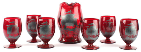 Cranberry Jug And Glasses,Essajees, - Artisera
