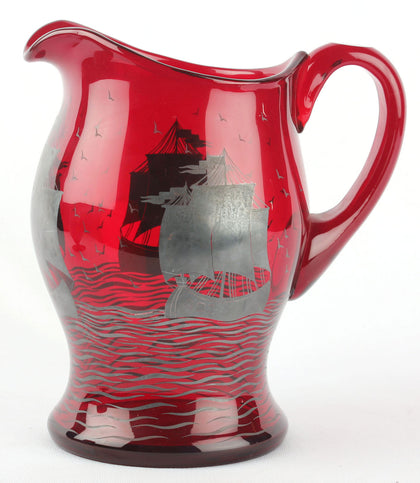 Cranberry Jug And Glasses,[product_collection],Essajees, - Artisera