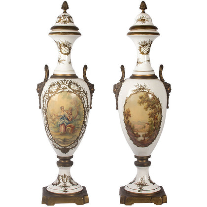 Signed Hand Painted Vases (Pair),[product_collection],Essajees, - Artisera