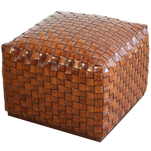 Breadloaf Woven Leather Pouffe,PortsideCafé, - Artisera