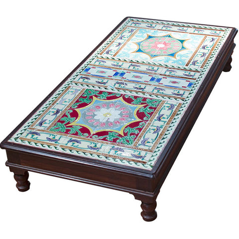 Low Wooden Table with Tile Work,Crafters, - Artisera