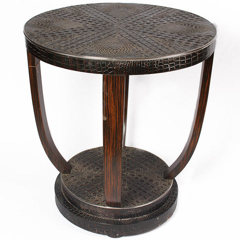Circular Table with Leather,[product_collection],The Great Eastern Home, - Artisera