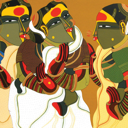 Women in Gossip,[product_collection],Archer Art Gallery,Thota Vaikuntam - Artisera
