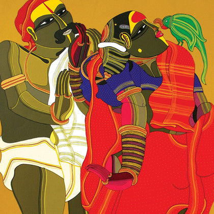 Couple with Parrot,[product_collection],Archer Art Gallery,Thota Vaikuntam - Artisera