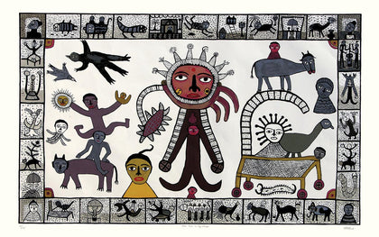 Sun God in my Village,[product_collection],Archer Art Gallery,Madhvi Parekh - Artisera