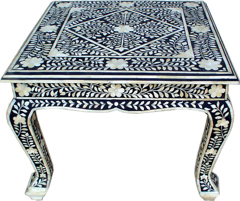 Leaf Pattern Side Table,[product_collection],Bone Inlay Furniture, - Artisera