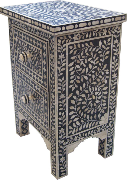 Leaf Pattern Bedside Table,[product_collection],Bone Inlay Furniture, - Artisera