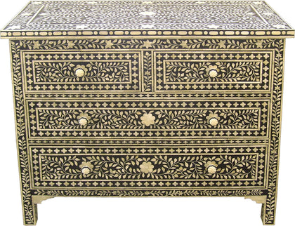 Leaf Pattern Chest of Drawers,[product_collection],Bone Inlay Furniture, - Artisera
