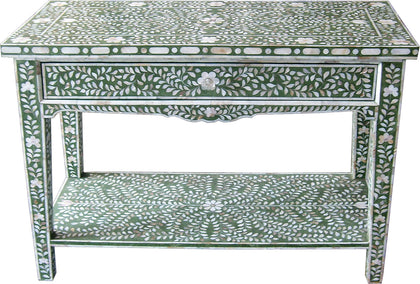Green Console Table with Drawer,[product_collection],Bone Inlay Furniture, - Artisera